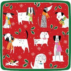 Caspari Christmas Canines Dog Theme Printed Square Paper Dessert Plates Wholesale 14130SP