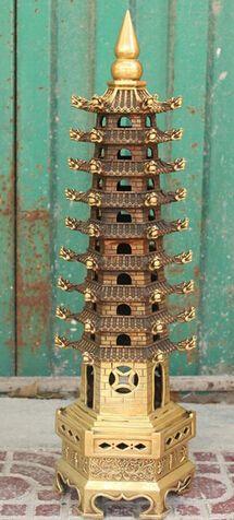 "Fast shipping 24"" Chinese Religion Bronze Dragon Buddhism Buddha Stupa Pagoda Tower Statue #Affiliate"
