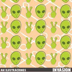 Invasion pattern Art print by Ah Ilustraciones  #Pattern #Alien #Ovni #Ufo
