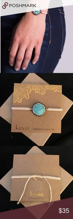 "Kevia Vie Boheme Bracelet Kevia Vie Boheme Gemstone Bracelet featuring 1"" Genuine Turquoise Medallion on Tan Macramé with Sliding Clasps for Adjustability. Kevia Jewelry Bracelets"