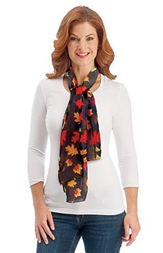Autumn Leaves Sheer Scarf Brown * Find out more about the great product at the image link.