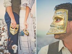 i like the left-hand photo. w/ champagne flutes instead of masks.
