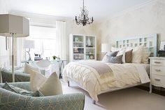 White room with a touch of teal...LOVE
