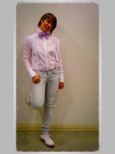 Alpha Sport Shirt Pink/White Striped, Butch Style, Tomboy fashions - HauteButch