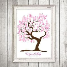 Guest finger print tree for baby shower or family reunion