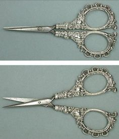 Ornate Antique English Sterling Silver Embroidery Scissors