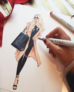 Street fashion illustration by Houston fashion illustrator Rongrong DeVoe. Dress Design Sketches, Fashion Design Sketchbook, Fashion Design Drawings, Drawing Sketches, Fashion Drawing Dresses, Fashion Illustration Dresses, Fashion Illustrations, Fashion Model Sketch, Fashion Sketches
