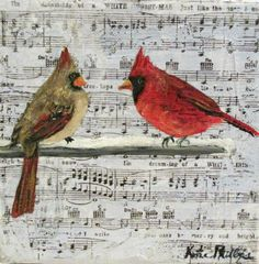 Christmas Cardinal Painting Mixed Media Paper and Acrylic on 6 x 6 canvas Original Art