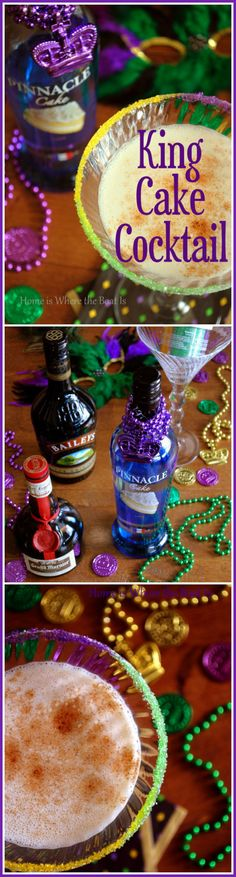 Laissez les bons temps rouler with a King Cake Cocktail for Mardi Gras! | Home is Where the Boat Is