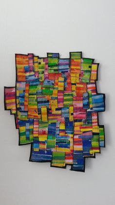 Urban City Life Made from fused plastic, sewn on carpet and wooden frame 50x56 cm- 2015  https://www.facebook.com/GeskeaTextileArt