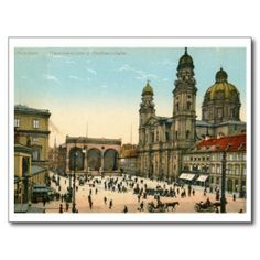 Theatinerkirche, Munich, Germany Vintage Post Card, Printed on ultra-heavyweight (120 lb.) card stock with a gloss finish.