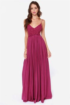 Blooming Prairie Crocheted Berry Pink Maxi Dress at Lulus.com!  I know rose wanted us to wear blue....but What do u guys think of this dress as brides maid dresses but in diff colors? It's only $54