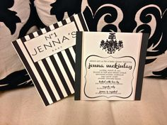 black, white and a touch of pale pink chanel-inspired baby shower invites