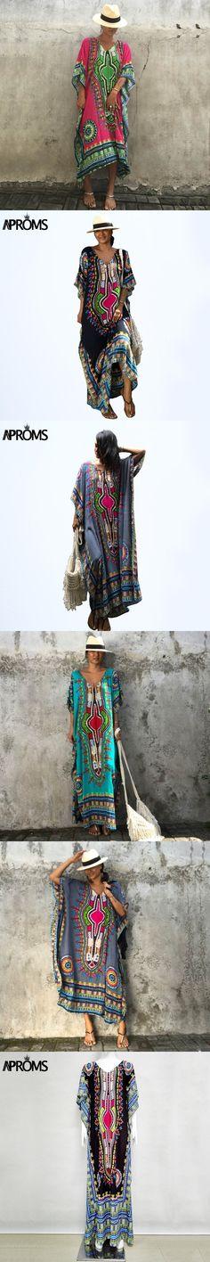 Aproms African Kaftan Dresses for Women Summer Ethnic Dashiki Dress Robe Traditional African Clothing Long Maxi Tunic Dress