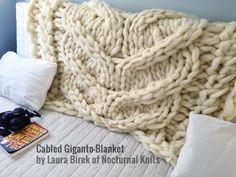 Cabled Giganto-Blanket Throw - custom-made, huge, chunky, giant hand-knit throw made from unspun wool roving