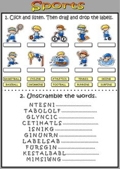 Sports interactive and downloadable worksheet. Check your answers online or send them to your teacher.