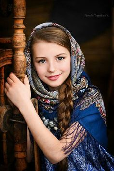 Russian girl in traditional shawl #kids
