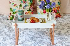 Adding copper pipe legs can turn a simple wooden tray into a lovely and functional breakfast in bed tray. This simple pipe project comes to us from the Bed Tray Diy, Diy Bed, Breakfast At Tiffany's Movie, Breakfast In Bed, Bed Table, Wood Beams, Cool Beds, Diy Projects, Wall Decor