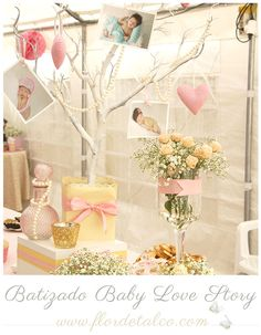 FLOR DE TALCO: Batizado Baby Love Story Christening Party, Baby Baptism, Ideas Para, Alice, Baby Shower, Table Decorations, Wedding Dresses, Baby Party, Themes For Parties