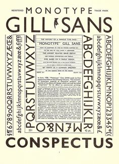 Monotype Gill Sans Conspectus - a page from the Monotype Recorder, Winter by mikeyashworth, History Of Typography, Typography Fonts, Graphic Design Typography, Lettering, Calligraphy Fonts, Gill Sans, Vintage Type, Letters And Numbers, Book Design