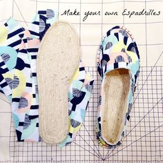 Make your own Espadrilles with this easy craft tutorial. The perfect summer shoe. How to make your own shoes, summer shoe pattern. Source by malvasnook shoes diy Make Your Own Shoes, How To Make Shoes, Diy Clothing, Sewing Clothes, Diy Sac, Shoe Crafts, Diy Clothes Videos, Shoe Pattern, Fabric Shoes