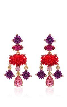 OSCAR DE LA RENTA Hyacinth Dahlia Drop C Earrings. #oscardelarenta #earrings