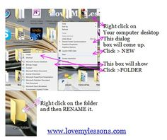 Step by step #instructions showing #how to create a new folder on your computer desktop. www.lovemylessons.com