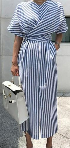 Korea Design Fashion Striped Dress Cross Tie Up Waist Front Slit Women Summer Dress Loose Batwing Sleeve Dress Vestidos Look Fashion, Korean Fashion, Fashion Outfits, Dress Fashion, Vestidos Color Azul, Maxi Robes, Maxi Dresses, Party Dresses, Long Dresses