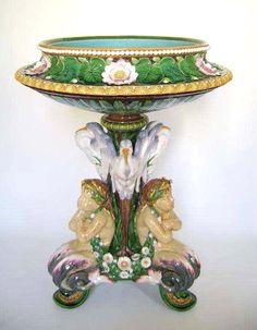 "Minton. Extremely rare Monumental  Majolica ""Melusine""  Jardiniere. 34""H."