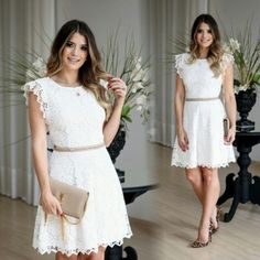 Charming White Prom Dress, Cute Round Neck Prom by RosyProm on Zibbet Short Lace Dress, Short Dresses, Summer Dresses, Lace Homecoming Dresses, Wedding Dresses, Casual Outfits, Cute Outfits, Mode Style, Lace Shorts