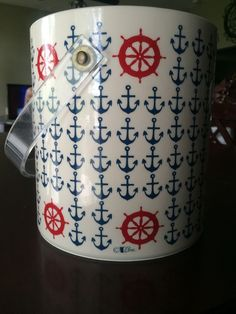 Vintage Cera Ice Bucket Nautical Anchors Boating Yacht Party