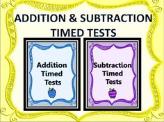 GREAT REVIEW! $1.50 Addition AND Subtraction Timed Tests Teacher Tracking Sheet