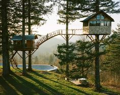 The Cinder Cone - a project by Foster Huntington in Washington that features two treehouses, a skatebowl and a wood-fired hot tub: http://humble-homes.com/the-cinder-cone-a-treehouse-getaway-with-a-skatebowl-and-hot-tub/