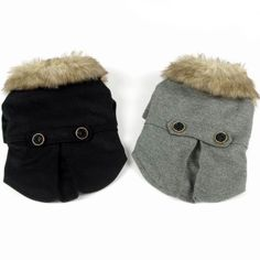 Thick Furry Collar Round Button Belt Pet Dog Coat