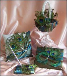 Peacock Wedding Basket Pillow Guest Book Set