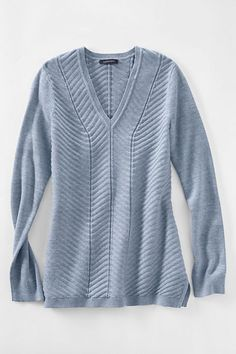 Women's Cotton V-neck Chevron Tunic Sweater from Lands' End