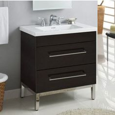 Shop Now for Empire Daytona 30'' Vanity with 2 Drawers at KitchenSource.com. Available in various finishes, these bathroom vanities are sure to look great in any bathroom area.
