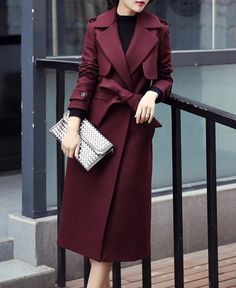 """"""""""" Long Wool Coat With Turn-Down Collar """""""" Decoration: Button, PocketsClothing Length: X-LongSleeve Style: RegularClosure Type: Single ButtonMaterial: Wool, Cotton, PolyesterCollar: Turn-Down Collar SKU: 4131488 """""""" Fall Outfits, Fashion Outfits, Fashion Trends, Fashion Coat, Emo Fashion, Fashion Women, Casual Outfits, Mode Mantel, Long Wool Coat"""