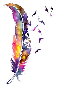 Watercolor Feather Art 👉www.me💝Save OFF with code Stationer… – feather diy Feather Drawing, Watercolor Feather, Feather Painting, Feather Art, Watercolor Print, Watercolour Painting, Watercolor Art Lessons, Watercolor Tattoos, Feather Tattoos