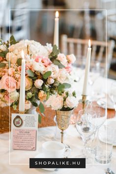 How To Decorate A Wedding Reception Table - Pictures of Decor and Basement Pink Wedding Centerpieces, Cheap Wedding Decorations, Reception Table Decorations, Wedding Reception Tables, Candle Centerpieces, Decoration Table, Budget Wedding, Centerpiece Ideas, Wedding Ideas