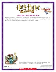 October MAKE YOUR OWN HALLOWEEN RECIPE! Create a recipe for Cauldron Cakes. Download by clicking image above! For more activities visit www.scholastic.com/hpreadingclub #HarryPotter #HPread