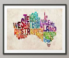 Typography Text Map of Australia, Art Print - 12x16 up to 18x24 inch (893) on Etsy, $23.64 AUD