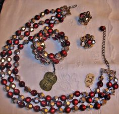 vintage dark red parure jewelry sets   Vintage Hobe Red and Silver Parure – Necklace Bracelet and Earrings ...