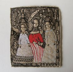Shakespeare's sisters  larger original embroidery by cathycullis