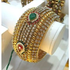 pearl and Kundan Stone Antique Gold Plated Bracelet set India Jewelry, Jewelry Shop, Jewelry Design, Gold Plated Bracelets, Bangles, Antique Jewellery Online, Imitation Jewelry, Diamond Bangle, Bracelet Set