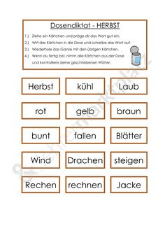 Dosendiktat zum Thema Herbst. Unterrichtsmaterial für das Fach Deutsch…