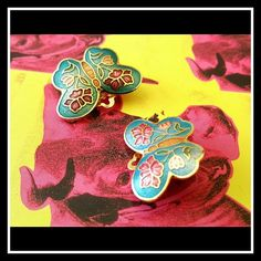 Spotted while shopping on Poshmark: Vintage Butterfly Cloisonne Turquoise Earrings! #poshmark #fashion #shopping #style #Vintage #Jewelry