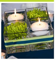 Square votive centerpiece - An easy but elegant way to dress up an event! http://www.grapponeconferencecenter.com/meetings_conferences.html