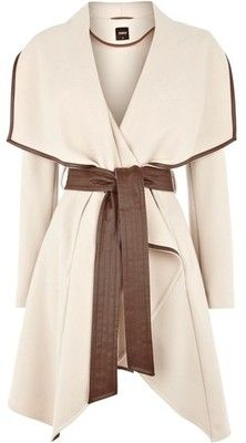Clothes / Cream Faux Leather Trim Belted Drape Coat ❤ liked... - Polyvore