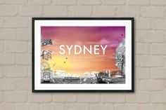 SYDNEY - Travel Poster - Sydney Poster - City Poster - Sunset - City Sunset - Travel Art - Australia - Opera House - Home Decor - Wall Art by ArtyPrintsBoutique on Etsy